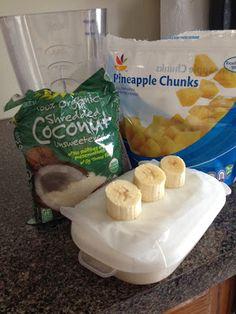 Pina Colada Protein Shake! greek yogurt, coconut, pineapple, banana, vanilla protein, almond milk= heaven