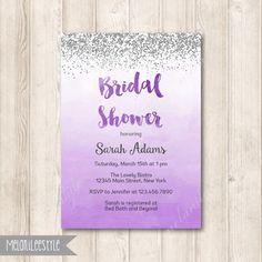 Purple stripes and silver glitter bridal shower invitation lavender silver and purple ombre bridal shower invitation by melanileestyle filmwisefo