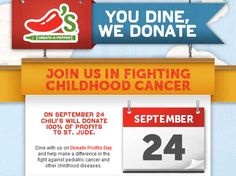 Chili's will donate 100% of profits on St. Jude on 9/24/12.