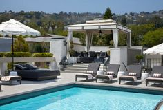 Back yard envy! {The Rooftop at The Chamberlain Hotel in West Hollywood} via La Dolce Vita Outdoor Areas, Outdoor Rooms, Outdoor Living, Outdoor Decor, West Hollywood, Hollywood Hills, Hollywood Regency, Fresco, Pool Cabana