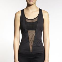 Cute illusion panel front workout tank from Michi NY