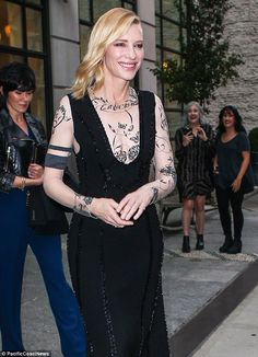 Looking good: Cate beamed as she stepped out of a Manhattan building earlier in the evening