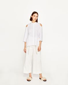 Image 1 of CUT-OUT SHOULDERS SHIRT from Zara