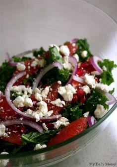 Grapefruit, Kale, and Feta Salad by mydailymorsel #Salad #Kale #Grapefruit