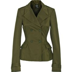 McQ by Alexander McQueen Soldier Lady Green Waisted Trench Jacket ($870) ❤ liked on Polyvore