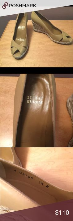Stuart Weitzman Tan Wedges Gorgeous and super comfortable Stuart Weitzmen wedges! They were only worn once. The only signs of wear are on the wedge area and can be seen in the photos. Honestly when worn they are barely noticable!! Stuart Weitzman Shoes Wedges