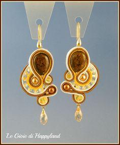 Soutache earrings , gold & bronze
