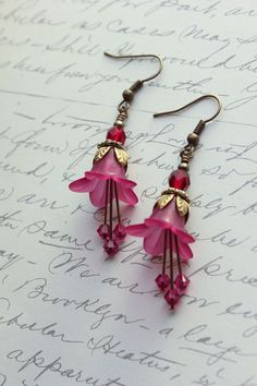 Magenta Purple Earrings Dark Fuchsia Lucite by apocketofposies
