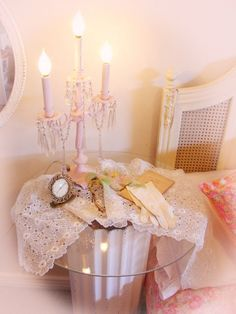 Love the old-fashioned romance of the candelabra. Chandler Lights, Architectural Columns, Pink Candles, Favorite Color, Candle Holders, Shabby, Girly, Romantic, Table Decorations