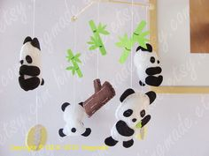 Baby Mobile - Panda Mobile - Happy Baby Panda Bear Mobile - Cute giant pandas with bamboo ball tree log design. $78.00, via Etsy.
