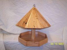Smaller Solid Oak Octagon Bird Feeder Made From Salvaged Wormy Oak