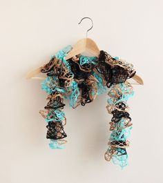 Hey, I found this really awesome Etsy listing at https://www.etsy.com/listing/174239300/ruffle-scarf-black-brown-turquoise-knit
