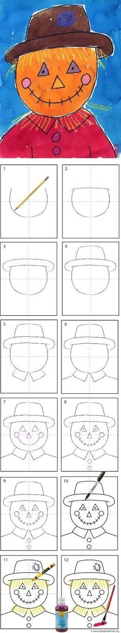OCTOBER Art Projects for Kids: How to Draw a Scarecrow Tutorial. I wonder if my three year old daughter can do this without feeling overwhelmed and frustrated? Fall Art Projects, Classroom Art Projects, School Art Projects, Art Classroom, Projects For Kids, Art Plastique Halloween, Drawing For Kids, Art For Kids, October Art