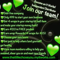 I ALWAYS tell people about ITWORKS because I am so grateful for this company!! It allows me to make money on my own time and be a stay at home mom!!! It is 100 % legit and I am part of an AMAZING team that has helped me grow and has also shown me amazing products that have changed the way I see myself!!! I helping others whether it is introducing them to a new product or helping them start their own business with this company and SUCCEED!! Message me for more info!