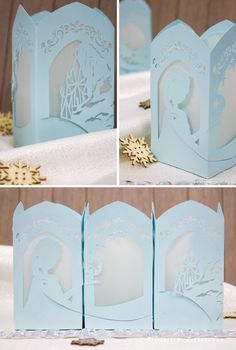Frozen Paper Lantern - Designs By Miss Mandee. Four panels of beautiful, intricate designs based on Disney's Frozen. Featuring Elsa and her castle, Anna, Kristoff, and Sven! Download the printable PDF and SVG cut file for FREE!!