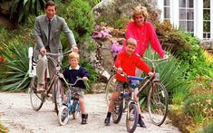 1 June 1989: The Prince and Princess of Wales and their sons, Princes Harry  and William ride their bikes on holiday in the Scilly Isles
