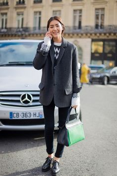 Liu Wen's outfit is edgy with a menswear-inspired touch. // #StreetStyle