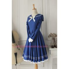 Sweet Dark Blue Cotton Doll Collar Long Sleeves Sailor Lolita Dress ($11) via Polyvore featuring dresses, long sleeve dress, sailor dress and longsleeve dress