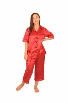 Womens Red Satin Cropped Pajamas
