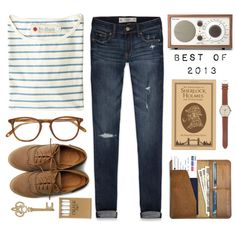 A fashion look from December 2013 featuring Mollusk t-shirts, Abercrombie & Fitch jeans and Ollio oxfords. Browse and shop related looks.