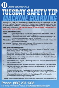 This week's Tuesday Safety Tip is about Machine Guarding.  United Services is…