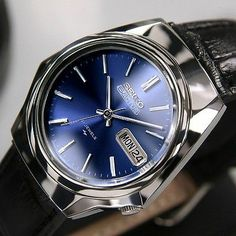 SEIKO 5ACTUS Mens AUTOMATIC21JEWELS Day Date Blue Dial Japan Made Antique Watch