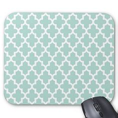 Mint Green Chic Moroccan Quatrefoil Pattern Mouse Pad Customized Rectangle Non-Slip Rubber Mousepad Gaming Mouse Pads Creative Print Custom Rectangle Mouse Pad