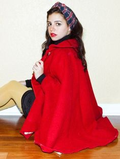 Wool Cape from American Apparel. Red or Navy Blue.