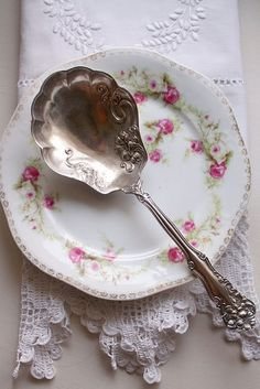 Love old linens, antique silver & pretty china ~ Berry or fruit spoon.