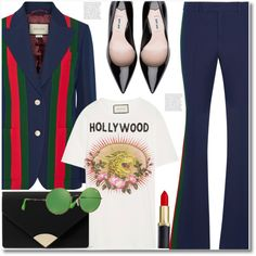 A fashion look from January 2018 featuring Gucci t-shirts, Gucci blazers and Gucci pants. Browse and shop related looks.