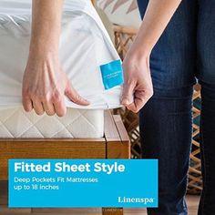 Sheet Bed Fitted Deep Bedding 1 Twin Pocket Soft Mattress Protector Waterproof . #LinenSpa