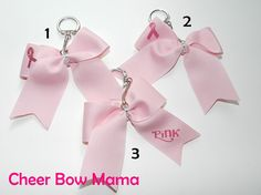 Pink Breast Cancer Awareness Cheer Bow Key Chains by Cheer Bow Mama