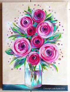 Image result for easy still life flower painting for mom