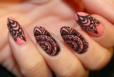 """This has got to be one of my favorite manicures  Mandala stamping over textured polish with @bornprettystorenailart BP-L014 plate and a gorgeous salmon…"""