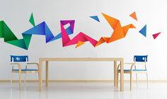 Apply this Origami Bird Stickers in any flat surface. If you are looking for a piece of art, Origami Bird Stickers is the perfect choice. Creative Wall Painting, Diy Wall Painting, Creative Walls, Origami Bird, Origami Folding, Origami Design, Beautiful Wall, Room Paint, Textured Walls