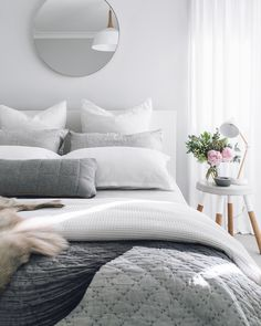 99 White And Grey Master Bedroom Interior Design 62 Master Bedroom Interior, Gray Bedroom, Home Interior, Home Decor Bedroom, Modern Bedroom, Interior Design, Bedroom Ideas, Bedroom Designs, Bedroom Wall