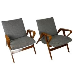 Pair of Bentwood Czech Tatra Nabytok Chairs, circa 1950 | From a unique collection of antique and modern chairs at https://www.1stdibs.com/furniture/seating/chairs/