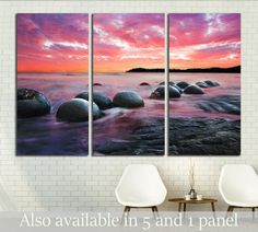 Moeraki Boulders on the Koekohe beach, New Zealand. Sunset and long exposure №2865 Framed Canvas Print
