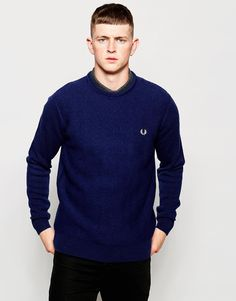 """Jumper by Fred Perry Medium-weight knit Crew neck Embroidered logo Regular fit - true to size Hand wash 100% Wool Our model wears a size Medium and is 185.5cm/6'1"""" tall"""