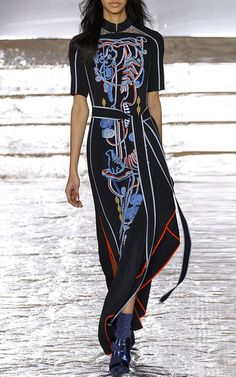 Embroidered Cady Mock Neck Dress by PETER PILOTTO for Preorder on Moda Operandi