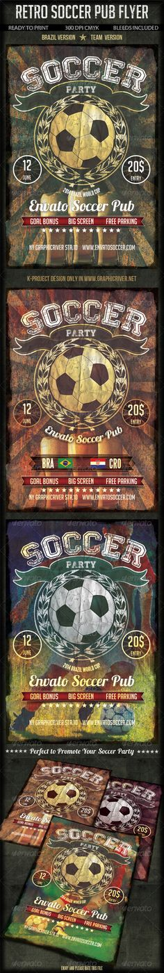 Retro Soccer Pub Bar Flyer by k-project Layered PSD File Ready to Print Bleeds Included 300 DPI CMYK Color Used fonts: http://www.dafont.com/bignoodle-titling.font http:/