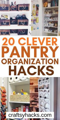 20 Clever Pantry Organization Hacks Organizing pantry can be diffilcut, use these pantry organization ideas to transform your kitchen. A tip on organizing kitchen can help you! Organisation Hacks, Pantry Closet Organization, Organizing Hacks, Pegboard Organization, Organizing Your Home, Organized Pantry, Pantry Storage, Organizing A Pantry, Gun Storage