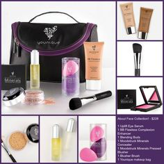 About Face Collection! - This collection includes:     1 Uplift Eye Serum     1 BB Flawless Complexion Enhancer     1 Blending Buds     1 Moodstruck Minerals Concealer     1 Moodstruck Minerals Pressed Blusher     1 Blusher Brush     1 Younique makeup bag  https://www.youniqueproducts.com/DanielleBroderick/