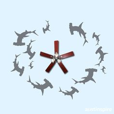One-of-a-kind Shark Tank-inspired circling school of Hammerhead Sharks ceiling decal This wouldn't work on our popcorn ceiling, but would be awesome on the fan blades. Shark Bedroom, Ocean Bedroom, Next Bedroom, Girls Bedroom, Shark Nursery, Bedroom Themes, Bedroom Decor, Bedroom Ideas, Hammerhead Shark