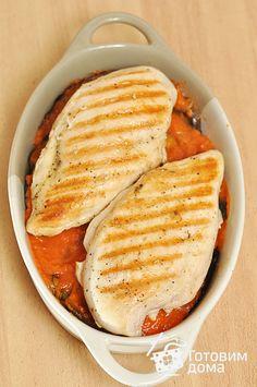 Рецепт Куриные грудки, запеченные с баклажанами и моцареллой