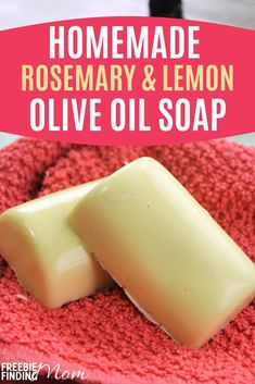 Are you tired of using soap that leaves your skin feeling dry and rough? Lather your skin in this rich, moisturizing homemade olive oil soap. This recipe for Rosemary Lemon Olive Oil, Olive Oil Soap, Olive Oil Lotion Recipe, Homemade Soap Recipes, Homemade Gifts, Diy Gifts, Lemon Soap, Essential Oils Soap, Fast Easy Meals