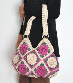 hand crochet, floral bag, crochet bags, inner pocket, flower appliqu, zippers, appliqu zipper