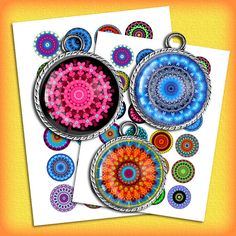 Mandala  Digital Collage Sheet 1.5 inch 1 inch by MobyCatGraphics, $3.65