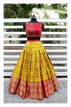 Here is a loud shout! your favorite croptops collection is back. We can customize the color and size as per your requirement. To Order… Half Saree Designs, Lehenga Designs, Saree Blouse Designs, Half Saree Lehenga, Lehnga Dress, Bandhani Dress, Floral Lehenga, Banarasi Lehenga, Lehenga Blouse