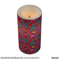 Colorful Red Teal Abstract Pattern Flameless Candle